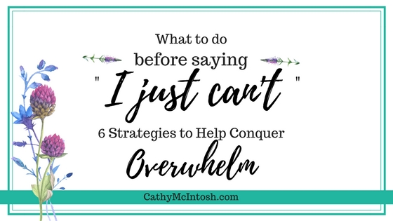 "What to do before saying, ""I Just Can't"":6 Strategies to Help Conquer Overwhelm"